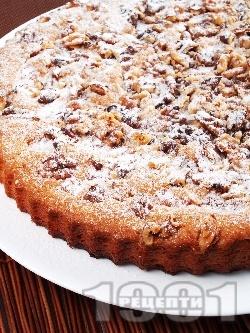 Вкусен гръцки кекс / сладкиш с кисело мляко, локум, орехи, ванилия и пудра захар - снимка на рецептата
